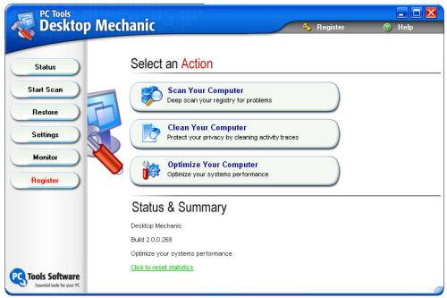 Hovedmenyen i Desktop Mechanic